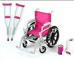 "WHEELCHAIR HEAL N CARE SET FOR 18"" DOLLS NEW"