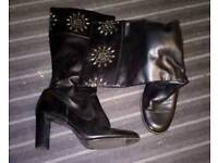 Black Studded Heeled Boots size 6 Exeter
