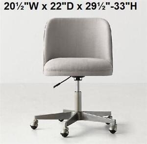 "NEW ALESSA DESK CHAIR PEWTER - 126657190 - RESTORATION HARDWARE TEEN 20½""W x 22""D x 29½""-33""H"