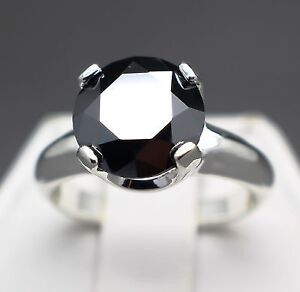 4.13cts Natural Jet Black Diamond Ring valued for $2370