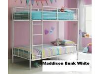 BRAND NEW AND BOXED MADDISON 3FT BUNK BED FRAME ONLY IN WHITE SINGLE AND SINGLE BUNKBED