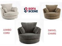 😍NEW DYLAN JUMBO CORD SWIVEL CHAIRS IN MANY COLOURS - 2 MAN FAST DELIVERY😍