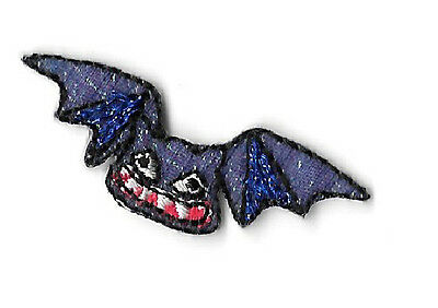 Bat - Halloween - Vampire - SMALL Purple Iridescent Embroidered Iron On Patch
