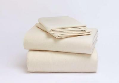 Twin XL Flannel Organic Cotton Bed Sheet Set Ivory Natural C