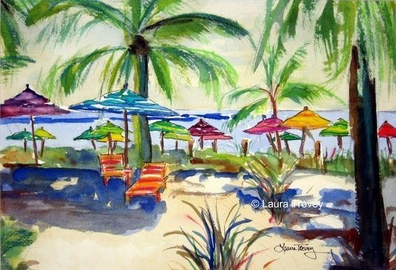 Palm Trees watercolor by laura trevey