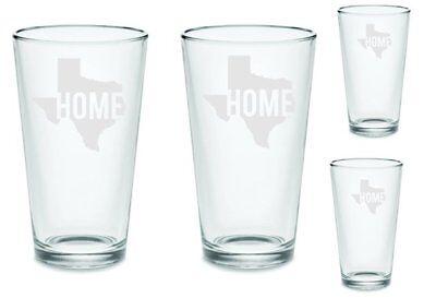 SET of 4 Texas Home Beer Pub Pint Glasses Custom Etched (Custom Barware)