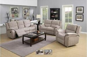New!!! 60% OFF!!! 3PC Suede-Grain Textured Floor Model Sofa Set Available in Tan or Chocolate.  $1999+HST