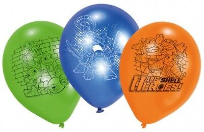 6 x Boys Girls Birthday Party Ninja Turtles Themed Latex Balloons Decorations - Ninja Turtle Themed Party
