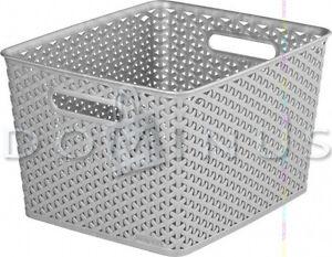 98689 Curver Ordnungsbox Korb Aufbewahrungsbox RATTAN Box Silber 18 L - <span itemprop='availableAtOrFrom'>Koszalin, Polska</span> - Zwroty są przyjmowane - Koszalin, Polska
