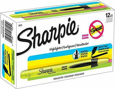 Sharpie Accent Retractable Highlighters Chisel Tip Fluorescent Yellow Box Of 12