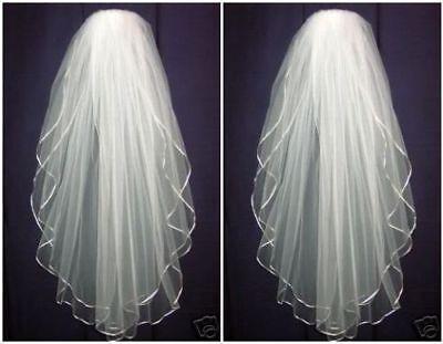 Cheap Wedding Veils (Hot 2 Layer White Wedding Veil Bridal Veils Satin Edge With Comb Free)