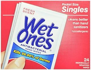 2 Pack Wet Ones Hand Wipes, Antibacterial, Singles, Fresh Scent, 24 Count Each