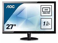 AOC 27 inch 2K Gaming Monitor Q2778VQE - 2560 x 1440 - 1ms Repsonse Time