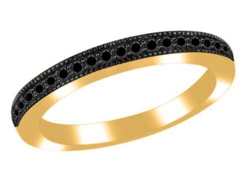 Womens black diamond wedding rings ebay for Black diamond wedding rings for women