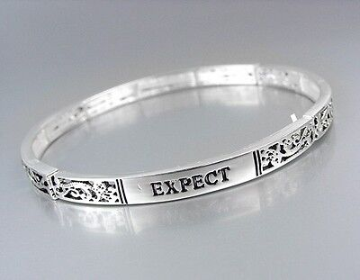 Inspirational BIBLE VERSE Scripture Religious Silver EXPECT MIRACLES Bracelet