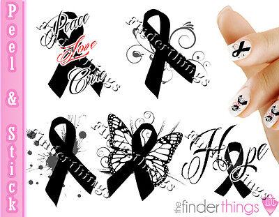 Melanoma Skin Cancer Ribbon Support Nail Art Decal Sticker Set Rib904