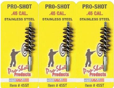 Pro-Shot Stainless Steel Pistol Bore Brush for .45 cal Pack of 3 # 45ST  New! ()
