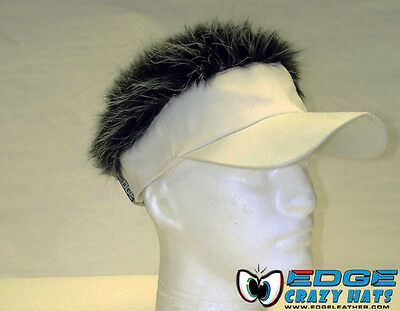 Crazy fun hairy hats / visors fake hair White visor Gray - Hair Visors