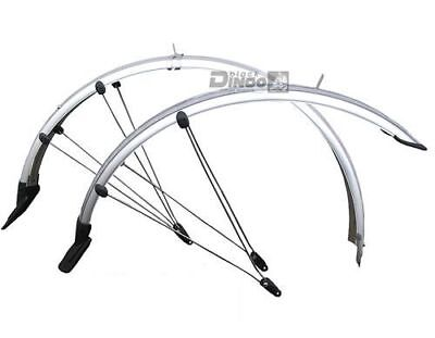 """Fahrrad Schutzblech Set 28"""" 45mm Schutzbleche silber Kontaktierung Rücklicht"""