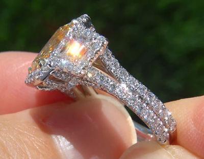 2.76 Ct Cushion Cut Fancy yellow  Trapezoid Diamond Engagement Ring SI1 GIA 18K  2