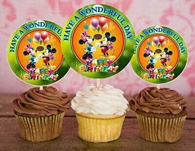 Mickey Mouse Cupcake Picks (12 Happy Birthday Mickey Mouse Inspired Party Picks, Cupcake Toppers)