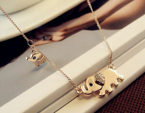 Cute Gold Plated Elephant Pendant Chain Necklace with Rhinestone Crystal Jewelry