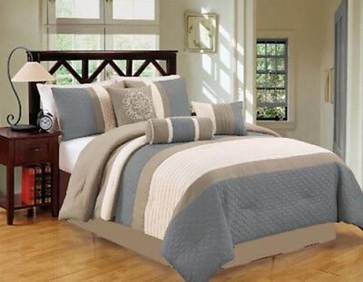 California King Bed Comforters - DCP  7Pcs, Luxury Stripe Comforter Bed-in-a-Bag Set,California King, Blue/Grey