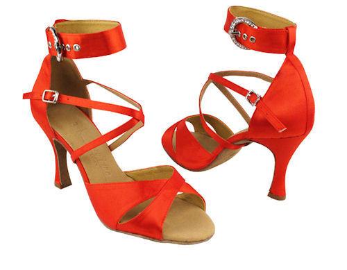 Red Satin Ballroom Salsa Latin Dance Shoes heel 3 Size 9 Very fine 7002