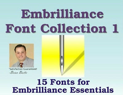 Embrilliance Fonts Collection 1 for Embrilliance Essentials Embroidery Software Embroidery Fonts Software