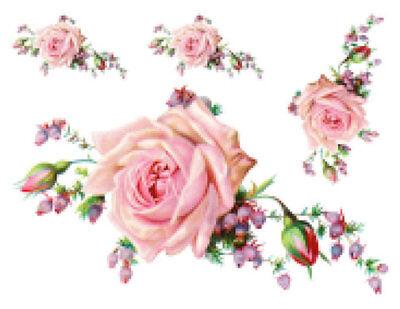 Vintage Victorian Pink Cabbage Rose Large Furniture Size Waterslide Decal FL212