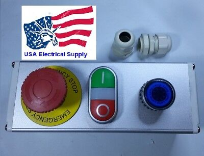 Emergency Stop Red Green Momentary Push Button Switch Station Blue Light 110220