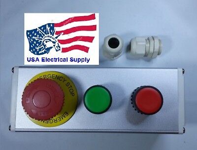 New Nc Emergency Stop No Red Green Momentary Push Button Switch Station 110-250v