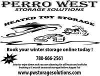 Heated indoor storage for boats, autos, bikes, and small RV's