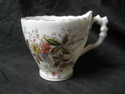 Historismus  Kaffeetasse Tasse 1tlg. Blütendekor ausgefallene Form !