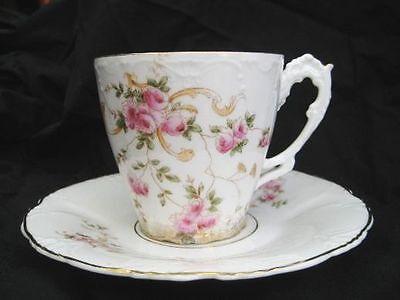 Historismus  Kaffeetasse 2tlg.  Rosen Rocaillen  Blütendekor !*! MiMä