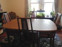 WOOD DINING TABLE & 4 CHAIRS