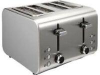Brand NewTesco 4 Slice Toaster - Stainless Steel