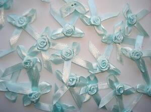 40-Satin-Ribbon-Flower-Rose-Bow-1-5-Craft-trim-sewing-doll-baby-light-F26-Blue