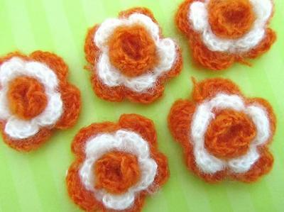 10 Hand Crochet Mohair Yarn Daisy Flower 3 Layers/bow/craft/knit/trim C31-orange