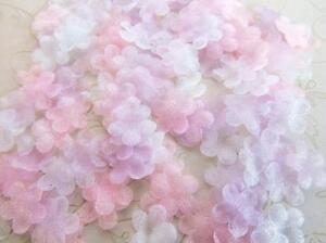 200-Pink-White-Lilac-Organza-Tulle-Flower-Daisy-Applique-trim-pastel-Easter-H190