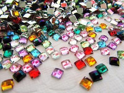 200 Sparkly Mini Square 5mm Acrylic Rhinestone Gem Mix/craft Jewel/bling/bow E20