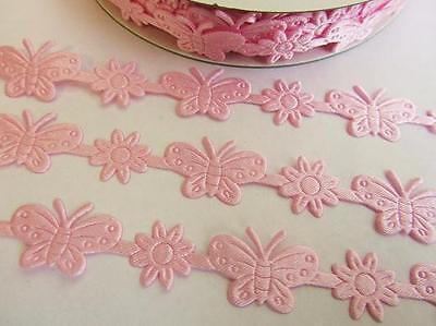 "25 yards Pink Butterfly & Flower Satin 5/8"" Ribbon/Garland/Decoration/Craft R93"