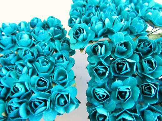 144 Mulberry Paper Rose Flower/scrapbooking/Craft/Scrapbook/Blue H420-Turquoise