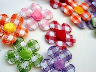 "SALE~40 Color Check Plaid 1.5"" Fabric Flower Applique/Quilting H157 No GREEN"