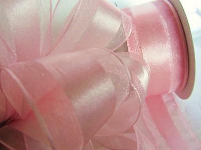 Pink Organza Satin Edge Ribbon - 25 yards Spool Satin/Organza Edge 1.5