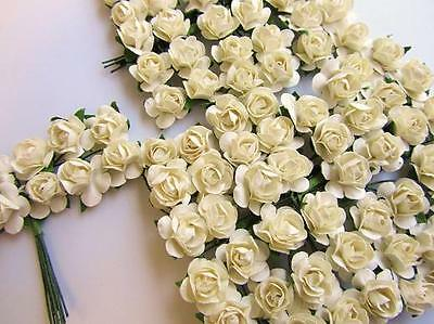 144 Mulberry Paper Rose Flower/wedding Favor/decoration/craft/bouquet H420-Ivory
