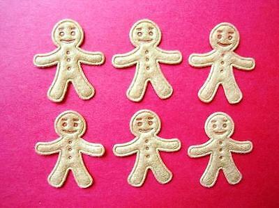60 Felt Mini Brown Gingerbread Man Applique/Christmas/bow/Craft/Trim/Doll H137](Gingerbread Man Craft)