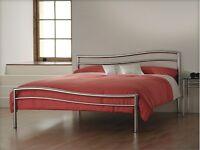 Santino Handmade Polished Steel Kingsize Bed