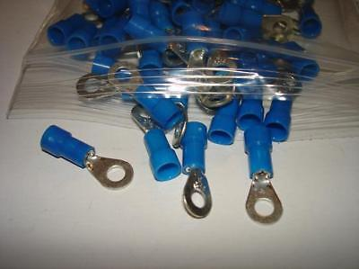 100 Blue Ring Terminals 16-14 AWG Electrical Wire Connectors Eyelet #8 Stud