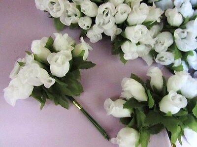 "144 Poly Silk Rose Artificial Flower 4"" Stem/leaf/Wedding Bouquet/Bow H415-White"